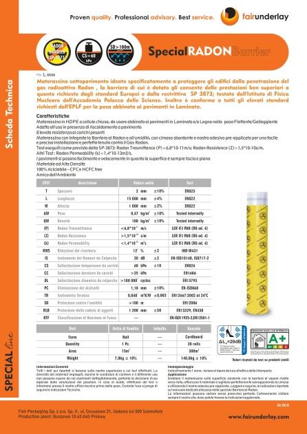 Scheda tecnica radon barrier